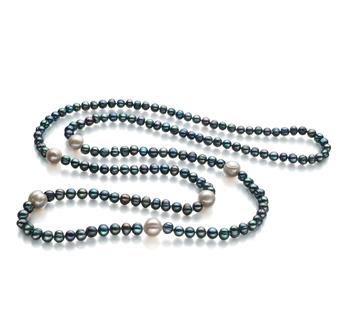 Halskette mit schwarzen and weißen, 6-11mm großen Süßwasserperlen in A-Qualität , Carla
