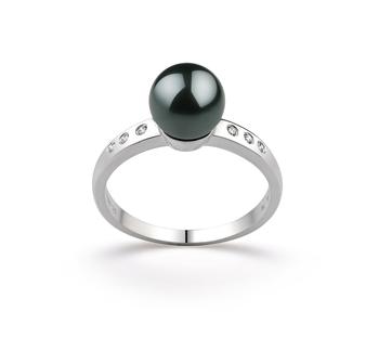 Ring mit schwarzen, 7.5-8mm großen Janischen Akoya Perlen in AAA-Qualität , Cecelia