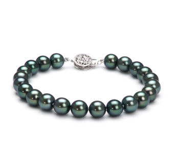 PearlsOnly - Armreifen mit schwarzen, 7.5-8mm großen Janischen Akoya Perlen in AAA-Qualität , Charlotte