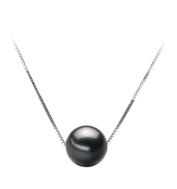 Anhänger mit schwarzen, 9-10mm großen Tihitianischen Perlen in AA-Qualität , Christina