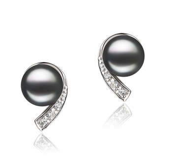 Paar Ohrringe mit schwarzen, 7-8mm großen Süßwasserperlen in AA-Qualität , Claudia