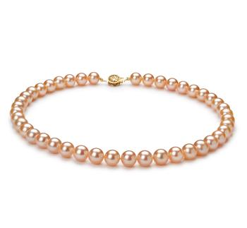Halskette mit rosafarbenen, 8.5-9mm großen Süßwasserperlen in AAAA-Qualität , Coco