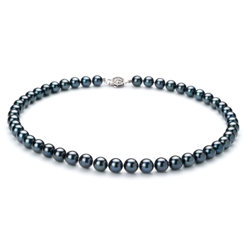Halskette mit schwarzen, 7.5-8mm großen Janischen Akoya Perlen in AAA-Qualität , Constanze