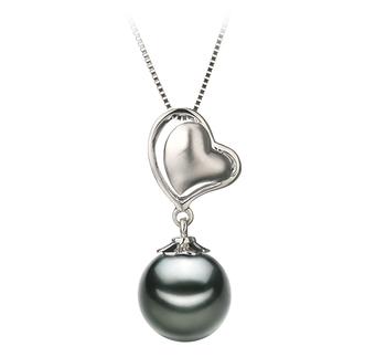 Anhänger mit schwarzen, 8-9mm großen Tihitianischen Perlen in AAA-Qualität , Cora
