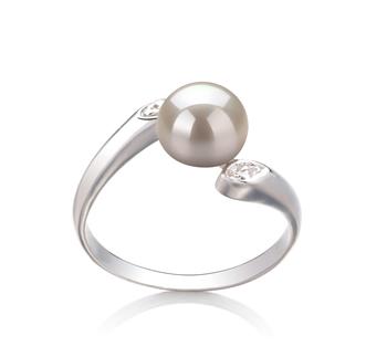 PearlsOnly - Ring mit weißen, 6-7mm großen Süßwasserperlen in AAA-Qualität , Dana