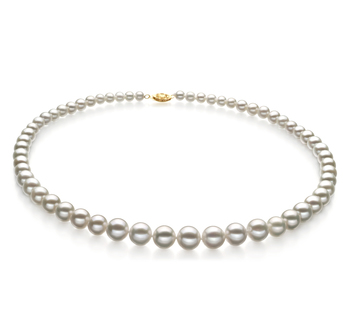 Halskette mit weißen, 5-10mm großen Süßwasserperlen in AAA-Qualität , Darleen