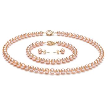 6-7mm AAA-Qualität Süßwasser Perlen Set in Dascha Rosa