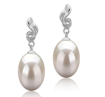 Paar Ohrringe mit weißen, 9-10mm großen Süßwasserperlen in AAA-Qualität , Deborah