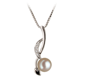 PearlsOnly - Anhänger mit weißen, 6-7mm großen Janischen Akoya Perlen in AA-Qualität , Diane