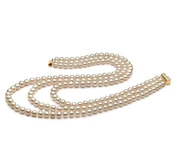 Halskette mit weißen, 6-7mm großen Süßwasserperlen in AA-Qualität , Dianna