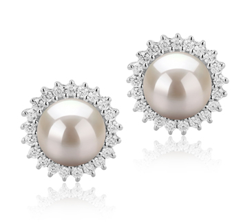 7-8mm AAAA-Qualität Süßwasser Paar Ohrringe in Dreama Weiß