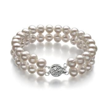 PearlsOnly - Armreifen mit weißen, 6-7mm großen Süßwasserperlen in A-Qualität , Eda