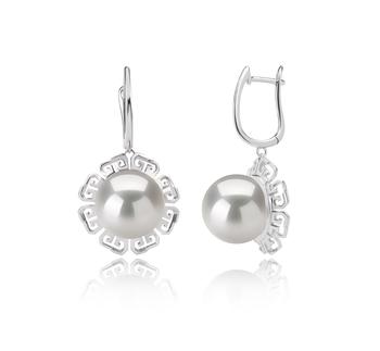 12-13mm AA+-Qualität Süßwasser - Edison Paar Ohrringe in Edison Blenda Weiß