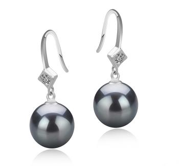 Paar Ohrringe mit schwarzen, 8-9mm großen Süßwasserperlen in AAAA-Qualität , Ethel