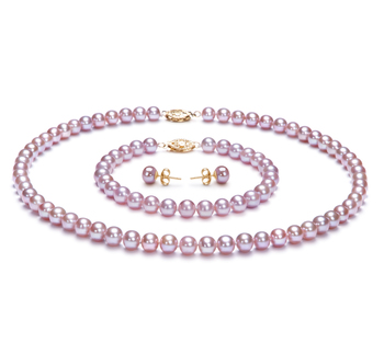 6-6.5mm AA-Qualität Süßwasser Perlen Set in Felia Lavendel