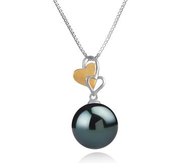 Anhänger mit schwarzen, 11-12mm großen Tihitianischen Perlen in AAA-Qualität , Felicia