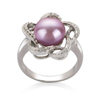 PearlsOnly - Ring mit lavendelfarbenen, 9-10mm großen Süßwasserperlen in AA-Qualität , Flora