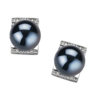 Paar Ohrringe mit schwarzen, 8-9mm großen Janischen Akoya Perlen in AA-Qualität , Francine