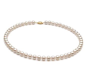 Halskette mit weißen, 6-7mm großen Chinesischen Akoya Perlen in A+-Qualität , Franziska