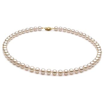 Halskette mit weißen, 6-7mm großen Chinesischen Akoya Perlen in AA+-Qualität , Gabriella