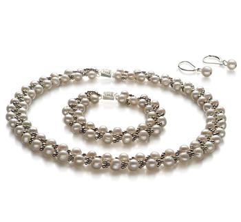 6-7mm A-Qualität Süßwasser Perlen Set in Geflecht Weiß