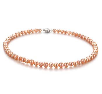 Halskette mit rosafarbenen, 6-7mm großen Süßwasserperlen in A-Qualität , Glückseligkeit