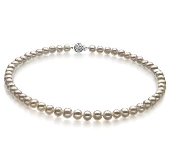 Halskette mit weißen, 6-7mm großen Süßwasserperlen in A-Qualität , Glückseligkeit