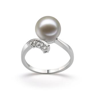 Ring mit weißen, 9-10mm großen Süßwasserperlen in AAAA-Qualität , Grace