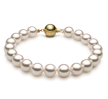 Armreifen mit weißen, 7.5-8mm großen Janischen Akoya Perlen in Hanadama - AAAA-Qualität