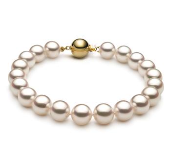 Armreifen mit weißen, 8.5-9mm großen Janischen Akoya Perlen in Hanadama - AAAA-Qualität
