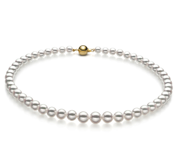 Halskette mit weißen, 6-9mm großen Janischen Akoya Perlen in Hanadama - AAAA-Qualität