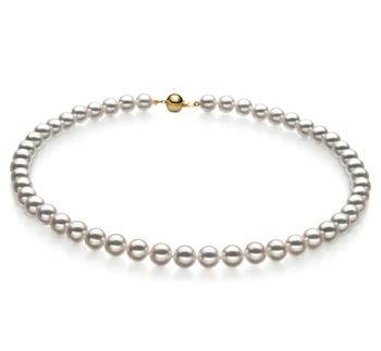 Halskette mit weißen, 7-7.5mm großen Janischen Akoya Perlen in Hanadama - AAAA-Qualität
