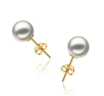 Paar Ohrringe mit weißen, 7.5-8mm großen Janischen Akoya Perlen in Hanadama - AAAA-Qualität