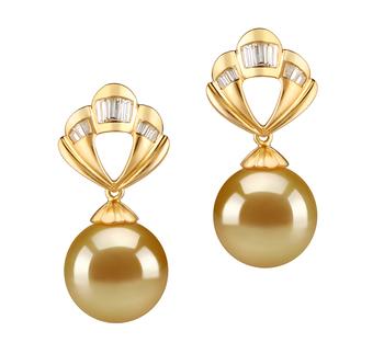 Paar Ohrringe mit goldfarbenen, 10-11mm großen Südseeperlen in AAA-Qualität , Helena
