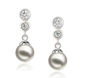Paar Ohrringe mit weißen, 7-8mm großen Janischen Akoya Perlen in AA-Qualität , Helena