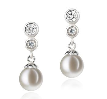 Paar Ohrringe mit weißen, 7-8mm großen Süßwasserperlen in AAAA-Qualität , Helena