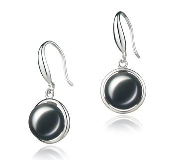 PearlsOnly - Paar Ohrringe mit schwarzen, 9-10mm großen Süßwasserperlen in AA-Qualität , Holly