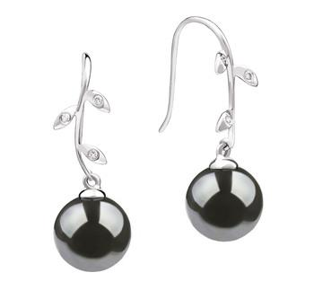 Paar Ohrringe mit schwarzen, 9-10mm großen Tihitianischen Perlen in AAA-Qualität , Honora
