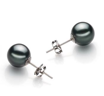 Paar Ohrringe mit schwarzen, 9-10mm großen Tihitianischen Perlen in AAA-Qualität , Ilea