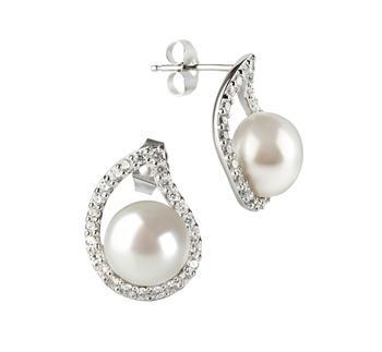 Paar Ohrringe mit weißen, 9-10mm großen Süßwasserperlen in AA-Qualität , Isabella