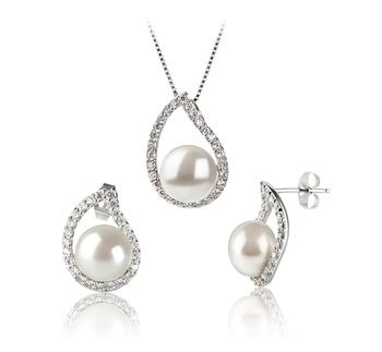 9-10mm AA-Qualität Süßwasser Perlen Set in Isabella Weiß