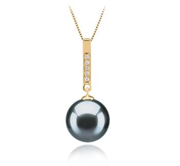 Anhänger mit schwarzen, 10-11mm großen Tihitianischen Perlen in AAA-Qualität , Janet