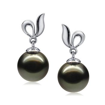 Paar Ohrringe mit schwarzen, 9-10mm großen Tihitianischen Perlen in AAA-Qualität , Jeannie