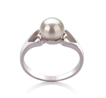Ring mit weißen, 6-7mm großen Süßwasserperlen in AA-Qualität , Jessica