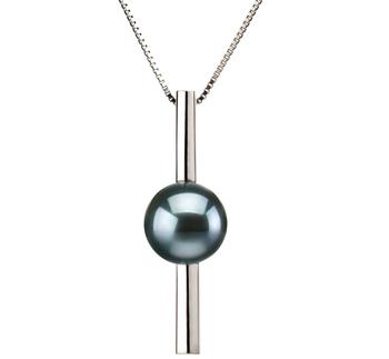 PearlsOnly - Anhänger mit schwarzen, 7-8mm großen Janischen Akoya Perlen in AA-Qualität , Johana