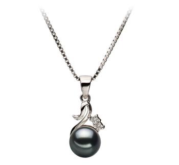 Anhänger mit schwarzen, 6-7mm großen Janischen Akoya Perlen in AA-Qualität , Johanna