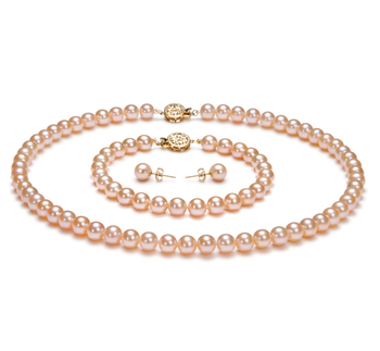 6-6.5mm AAAA-Qualität Süßwasser Perlen Set in Jola Rosa