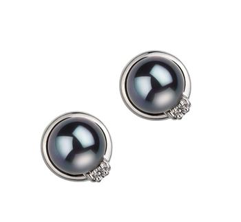 Paar Ohrringe mit schwarzen, 6-7mm großen Janischen Akoya Perlen in AA-Qualität , Jolanda
