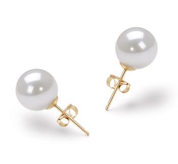 Paar Ohrringe mit weißen, 8.5-9mm großen Janischen Akoya Perlen in AAA-Qualität , Josefa