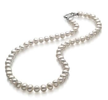 Halskette mit weißen, 8-9mm großen Süßwasserperlen in A-Qualität , Julia